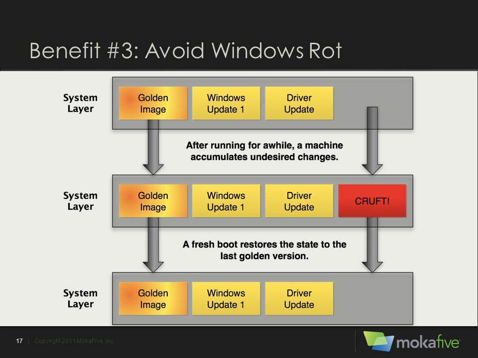 Benefit #3: Avoid Windows Rot 17| Copyright 2011 MokaFive, Inc.