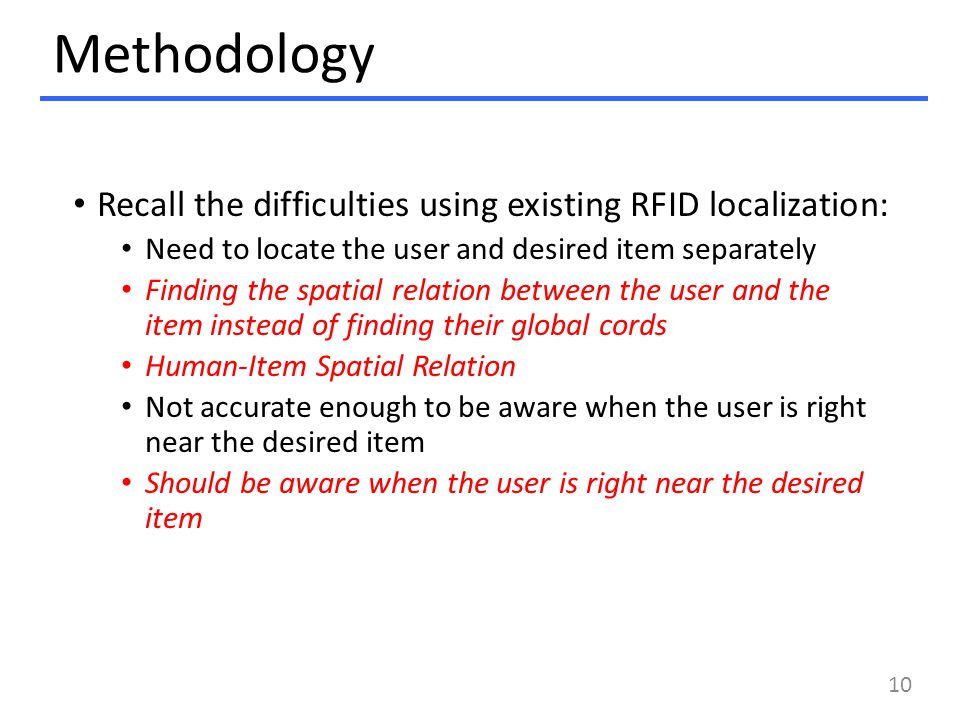Methodology Recall the difficulties using existing RFID localization: Need to locate the user and desired item separately Finding the spatial relation