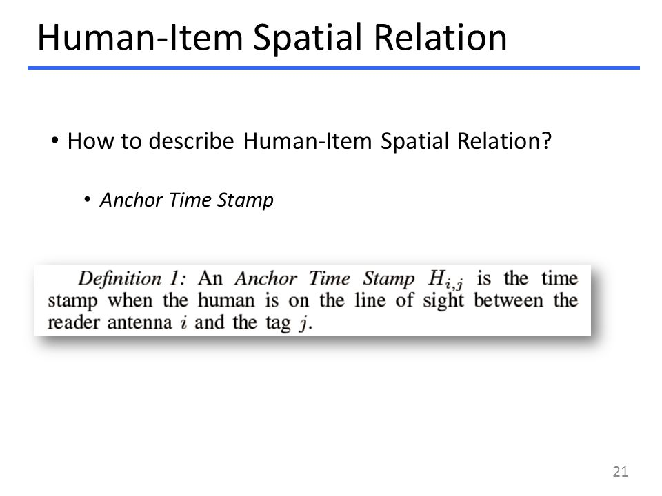 Human-Item Spatial Relation How to describe Human-Item Spatial Relation? Anchor Time Stamp 21