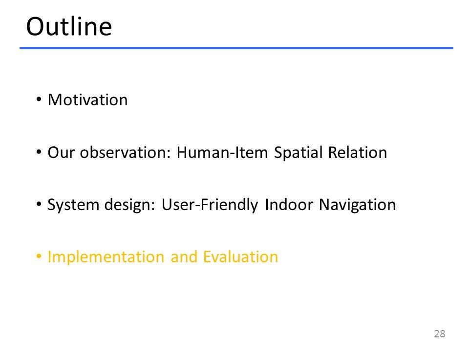 Outline Motivation Our observation: Human-Item Spatial Relation System design: User-Friendly Indoor Navigation Implementation and Evaluation 28
