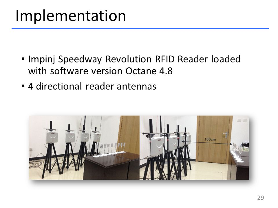 Implementation Impinj Speedway Revolution RFID Reader loaded with software version Octane 4.8 4 directional reader antennas 29