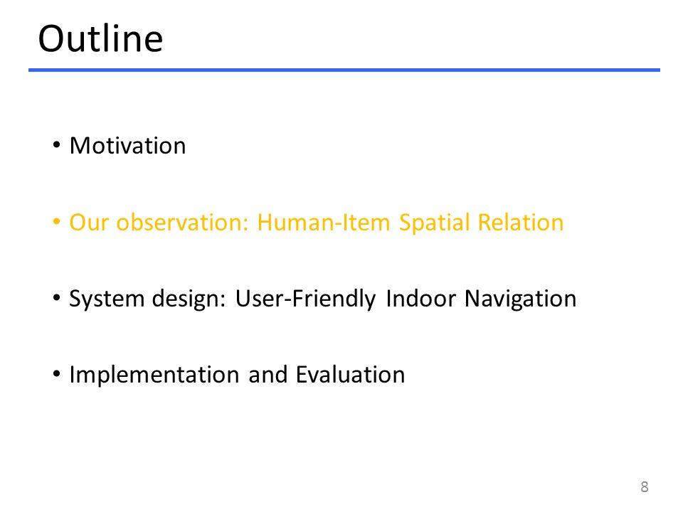 Outline Motivation Our observation: Human-Item Spatial Relation System design: User-Friendly Indoor Navigation Implementation and Evaluation 8