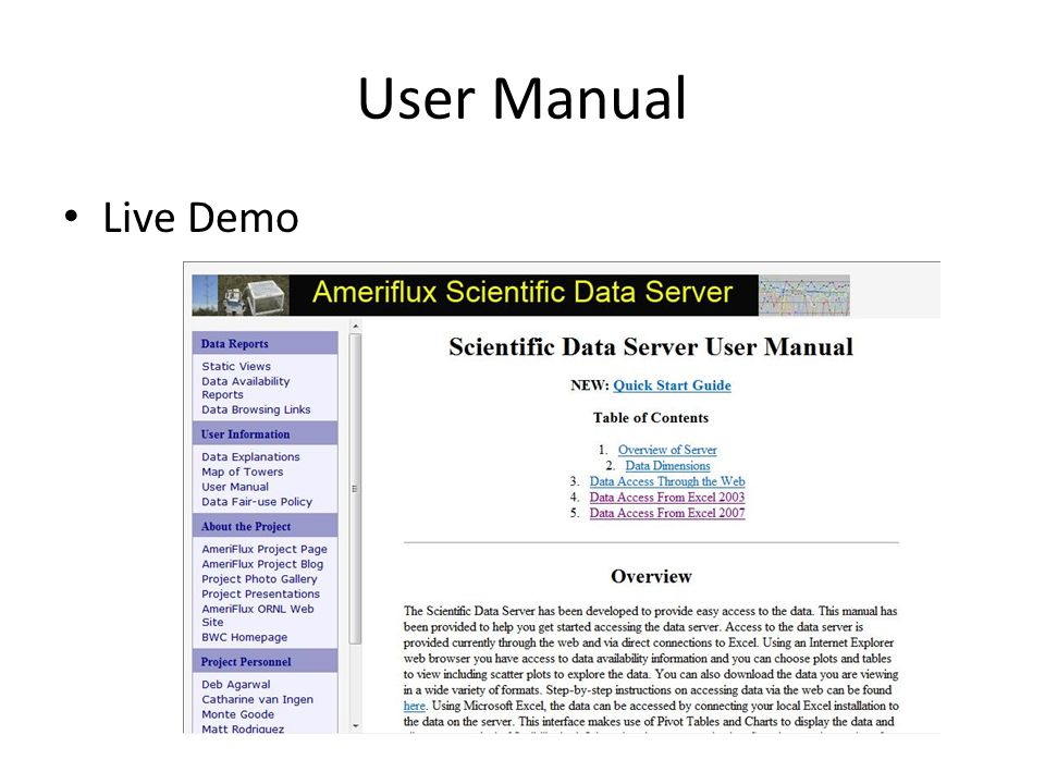 User Manual Live Demo