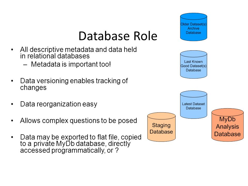 Database Role All descriptive metadata and data held in relational databases –Metadata is important too! Data versioning enables tracking of changes D