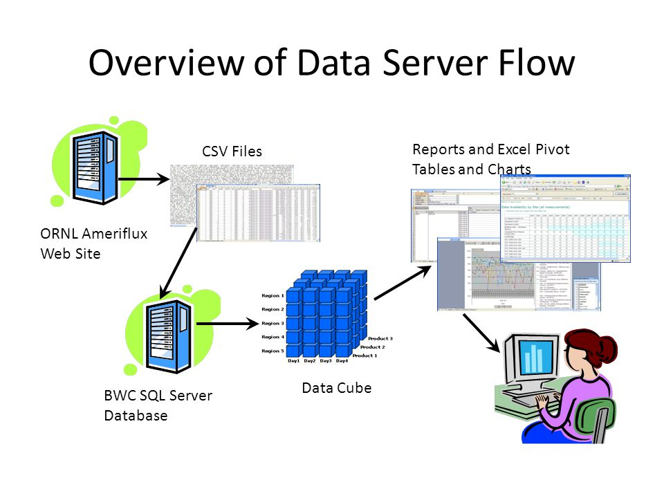Overview of Data Server Flow ORNL Ameriflux Web Site CSV Files BWC SQL Server Database Data Cube Reports and Excel Pivot Tables and Charts