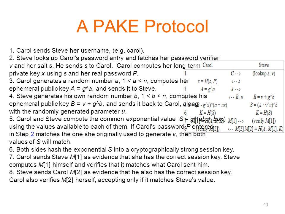 A PAKE Protocol 44 1. Carol sends Steve her username, (e.g. carol). 2. Steve looks up Carol's password entry and fetches her password verifier v and h