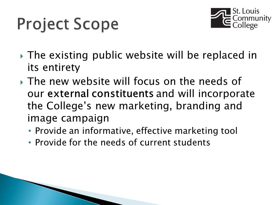  The existing public website will be replaced in its entirety  The new website will focus on the needs of our external constituents and will incorporate the College's new marketing, branding and image campaign Provide an informative, effective marketing tool Provide for the needs of current students