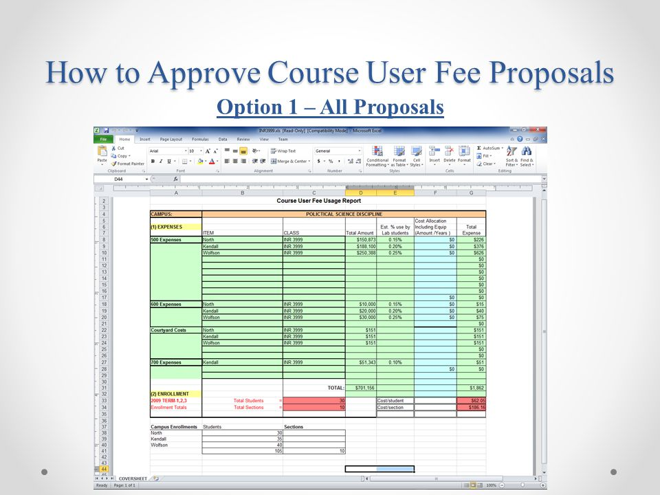 How to Approve Course User Fee Proposals Option 1 – All Proposals