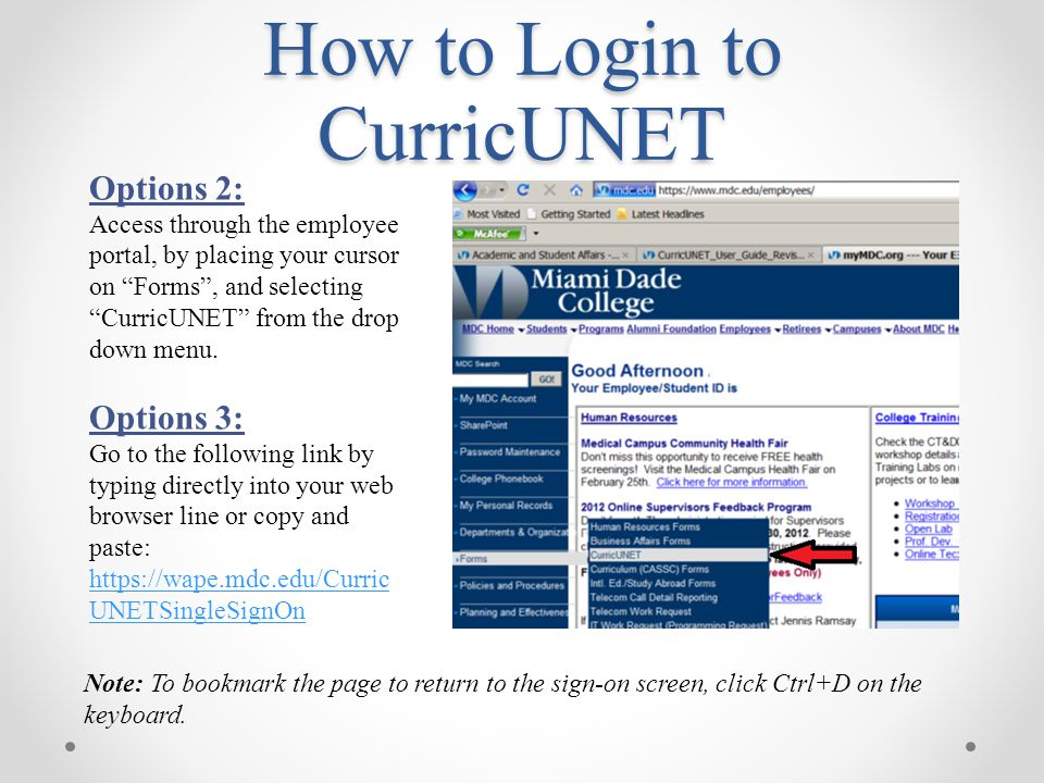 """How to Login to CurricUNET Options 2: Access through the employee portal, by placing your cursor on """"Forms"""", and selecting """"CurricUNET"""" from the drop"""