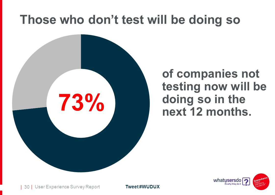 | User Experience Survey ReportTweet #WUDUX | 30 Those who don't test will be doing so of companies not testing now will be doing so in the next 12 months.