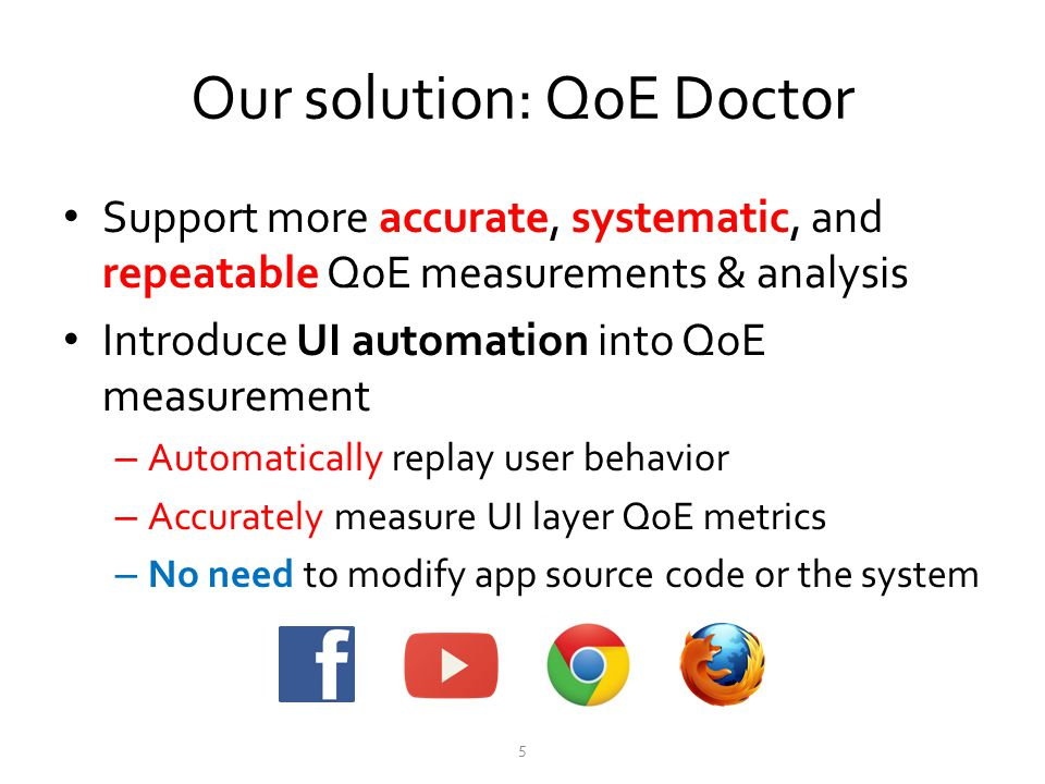 Our solution: QoE Doctor Support more accurate, systematic, and repeatable QoE measurements & analysis Introduce UI automation into QoE measurement –