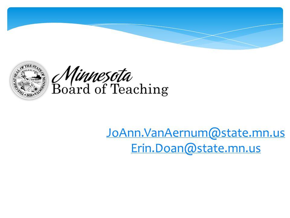 JoAnn.VanAernum@state.mn.us Erin.Doan@state.mn.us