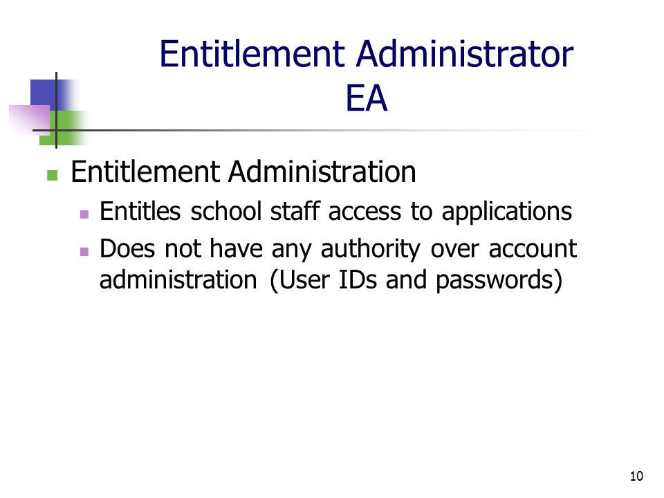 10 Entitlement Administrator EA Entitlement Administration Entitles school staff access to applications Does not have any authority over account administration (User IDs and passwords)