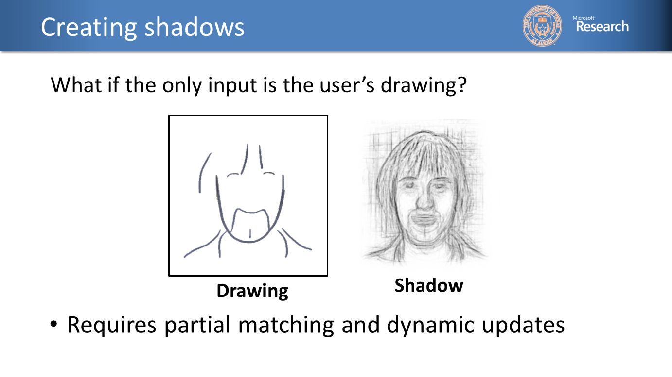 Creating shadows What if the only input is the user's drawing.