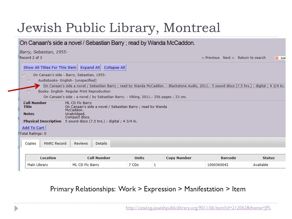 Jewish Public Library, Montreal http://catalog.jewishpubliclibrary.org:9011/lib/item?id=212062&theme=JPL Primary Relationships: Work > Expression > Ma