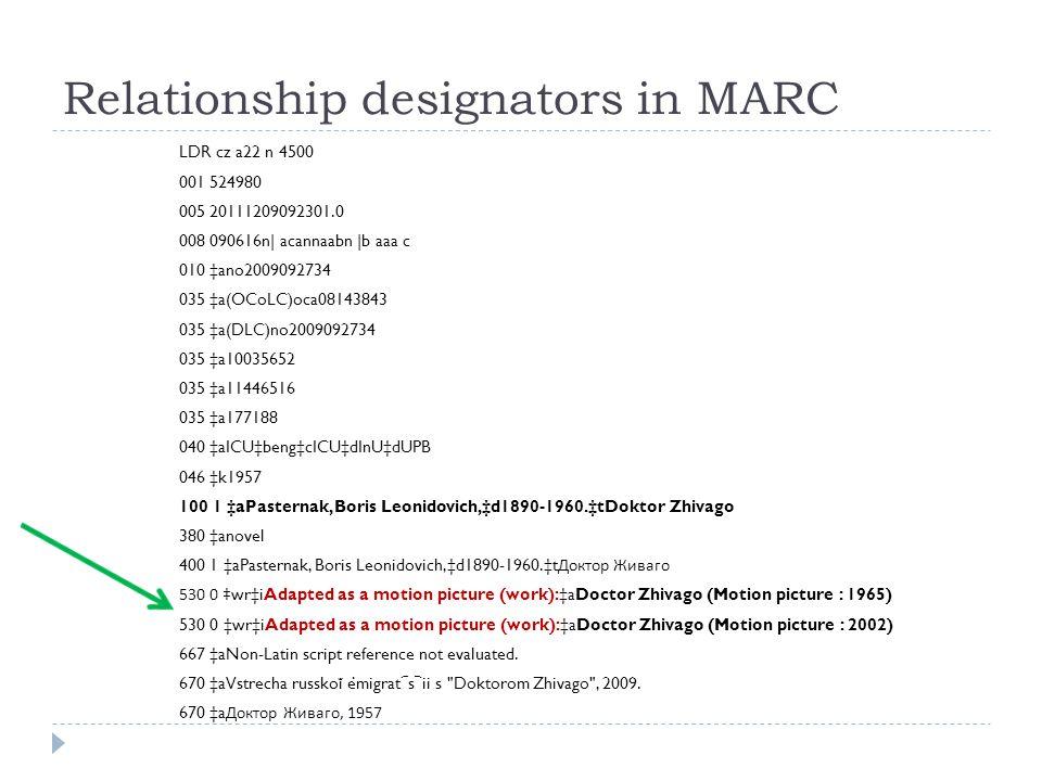 Relationship designators in MARC LDR cz a22 n 4500 001 524980 005 20111209092301.0 008 090616n| acannaabn |b aaa c 010 ‡ano2009092734 035 ‡a(OCoLC)oca