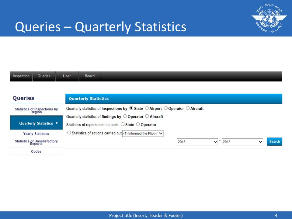 4 Queries – Quarterly Statistics Project title (Insert, Header & Footer)