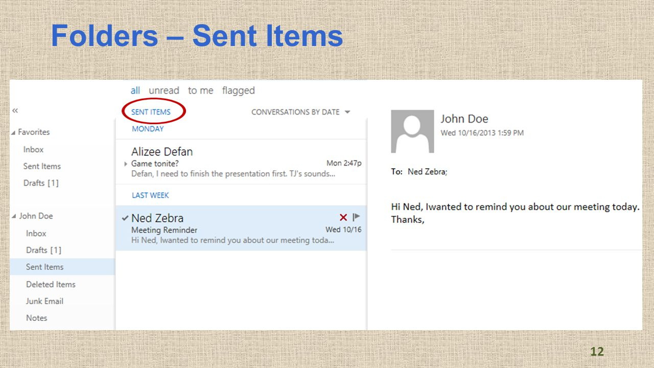 Folders – Sent Items 12