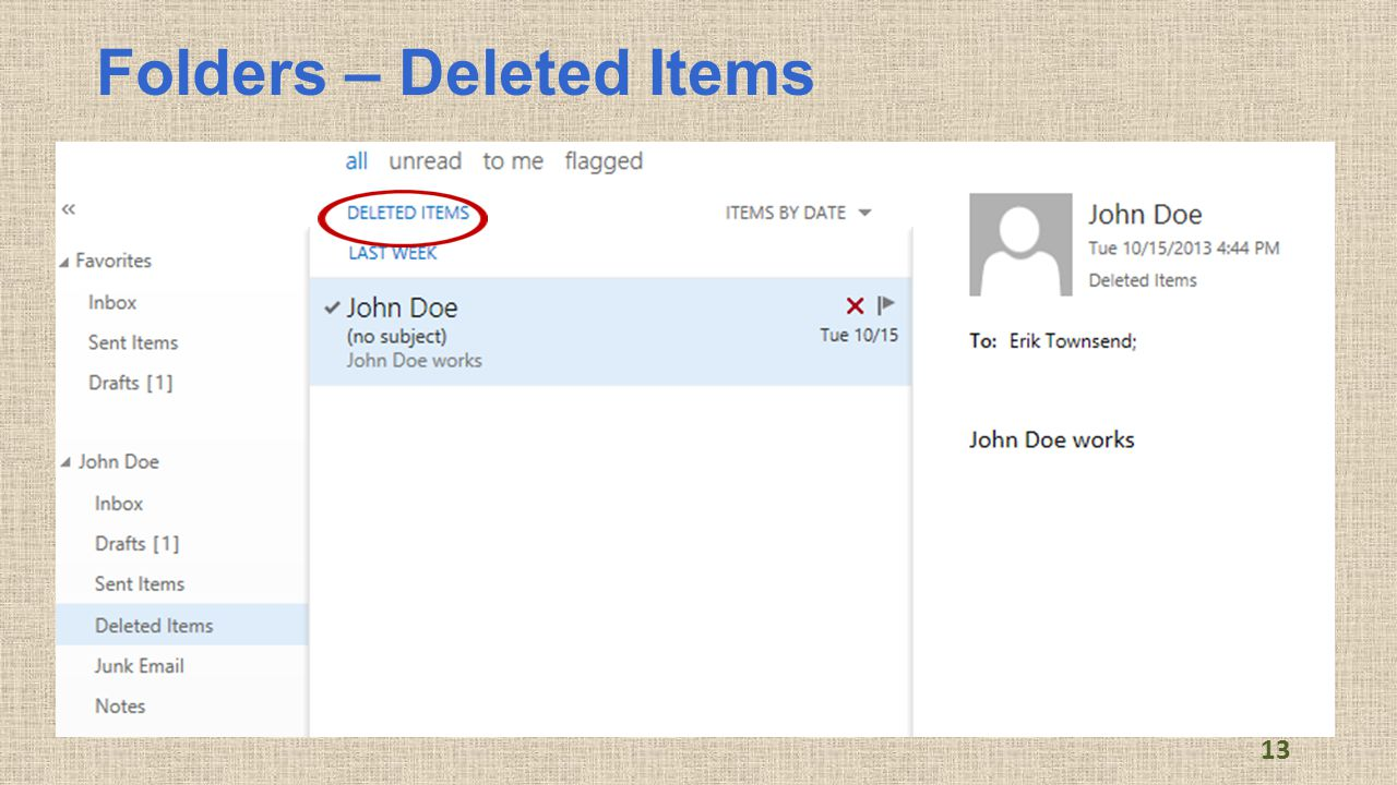 Folders – Deleted Items 13