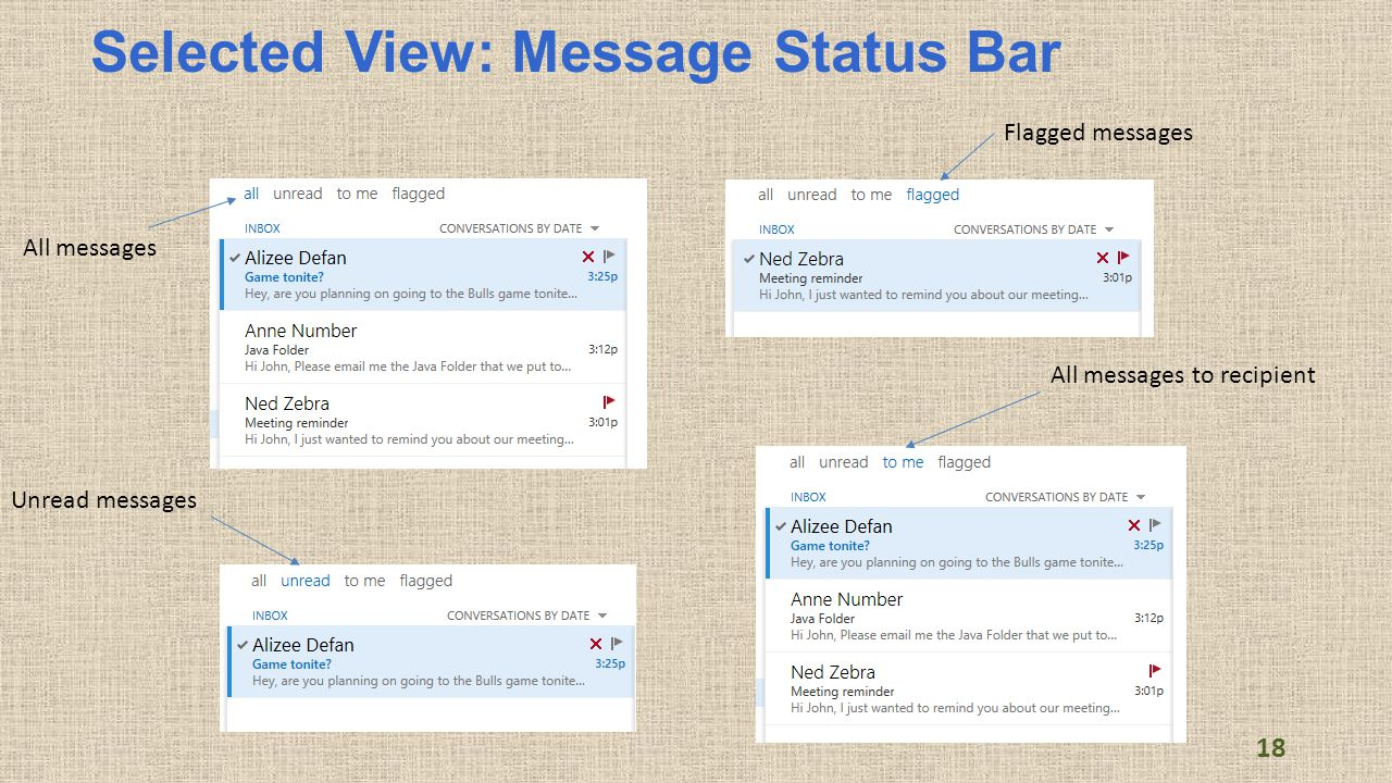 Selected View: Message Status Bar All messages Unread messages Flagged messages All messages to recipient 18