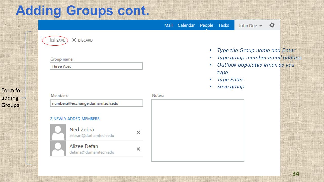 Adding Groups cont.