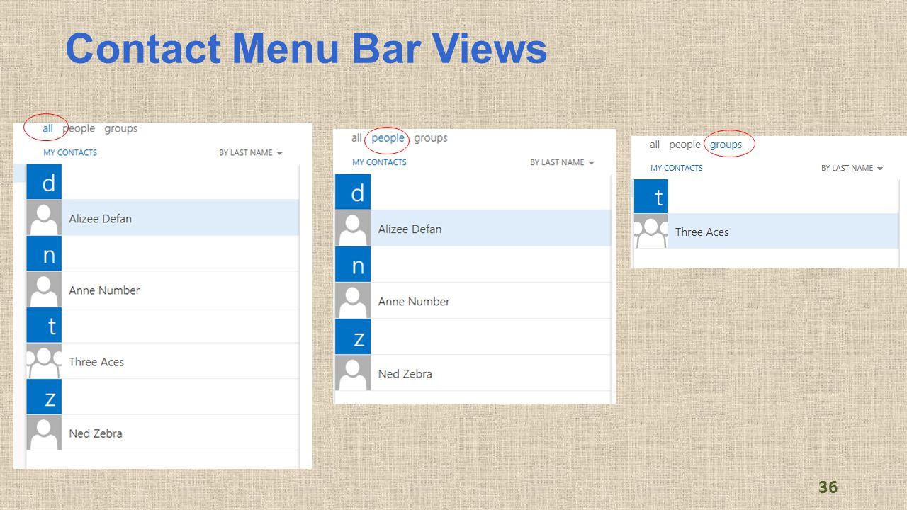Contact Menu Bar Views 36