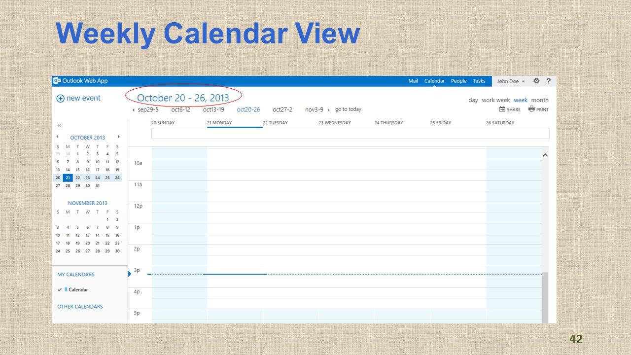 Weekly Calendar View 42