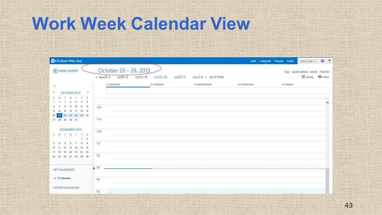 Work Week Calendar View 43