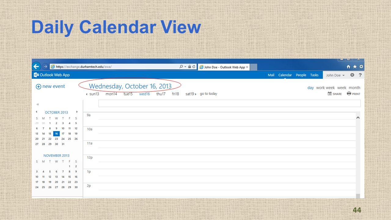 Daily Calendar View 44