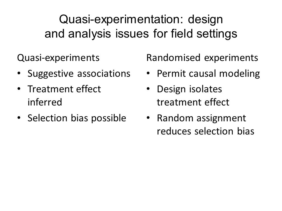 Quasi-experimentation: design and analysis issues for field settings Quasi-experiments Suggestive associations Treatment effect inferred Selection bia
