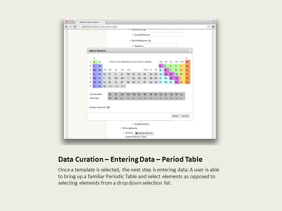 Data Curation – Entering Data – Period Table Once a template is selected, the next step is entering data: A user is able to bring up a familiar Periodic Table and select elements as opposed to selecting elements from a drop down selection list.
