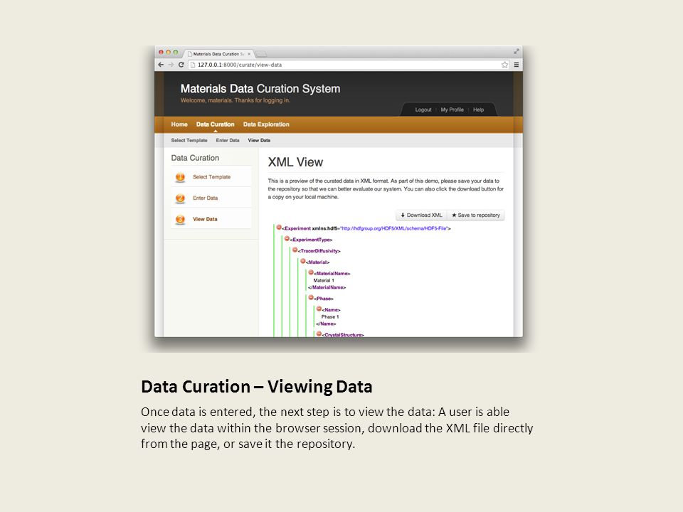 Data Curation – Viewing Data Once data is entered, the next step is to view the data: A user is able view the data within the browser session, download the XML file directly from the page, or save it the repository.
