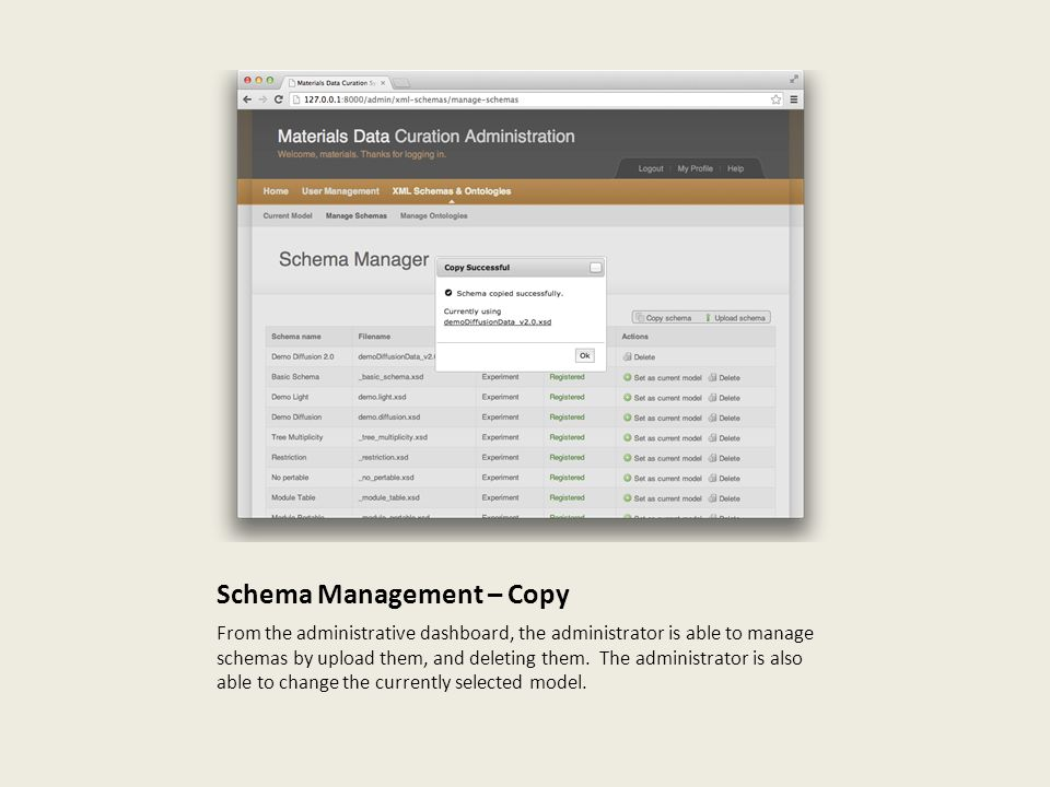 Schema Management – Copy From the administrative dashboard, the administrator is able to manage schemas by upload them, and deleting them.