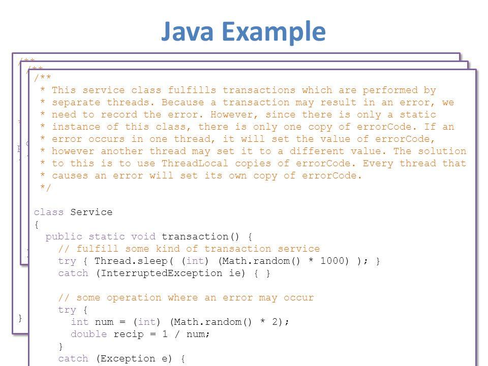 Java Example /** * Example program illustrating thread-specific data.