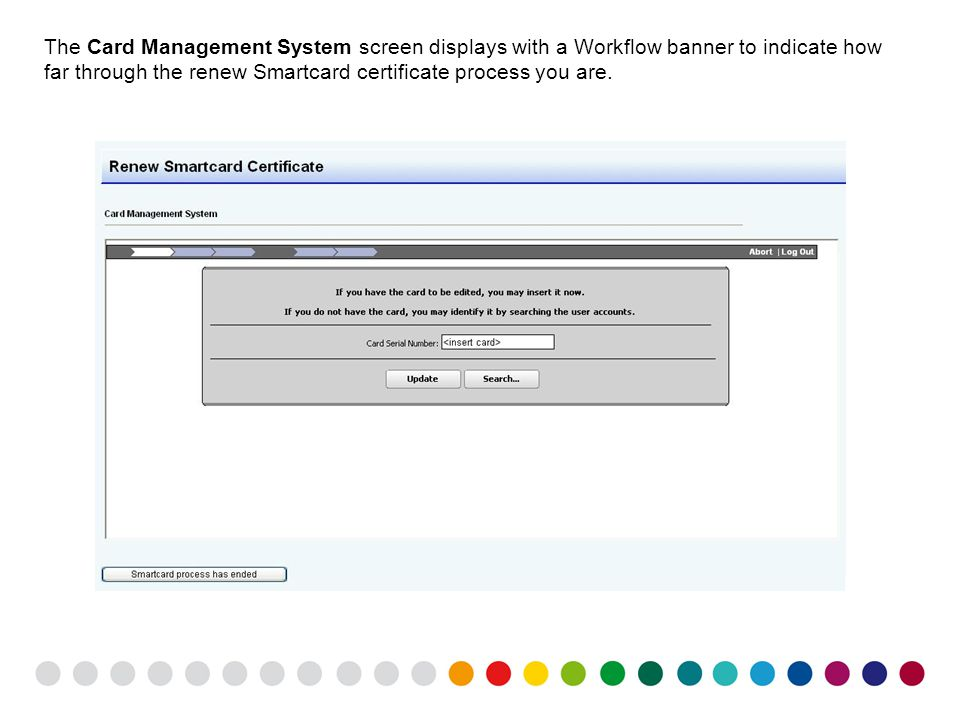 The Card Management System screen displays with a Workflow banner to indicate how far through the renew Smartcard certificate process you are.