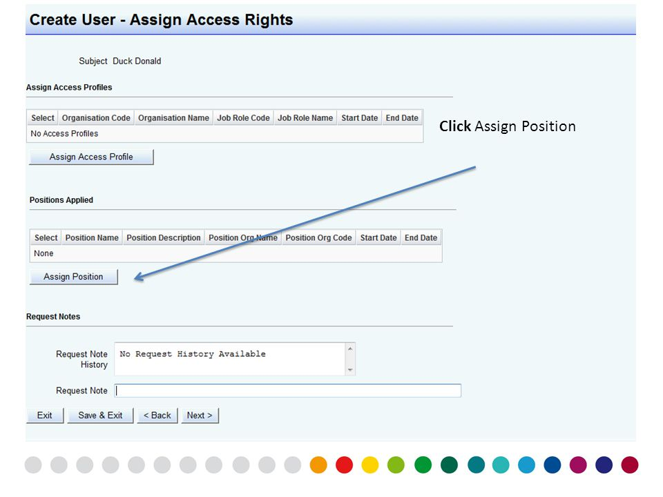 Access rights assignment to be provided as separate screen shots so click next At this point you can add access rights to an individual by assigning a
