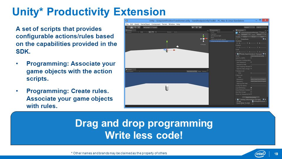 19 Unity* Productivity Extension A set of scripts that provides configurable actions/rules based on the capabilities provided in the SDK.