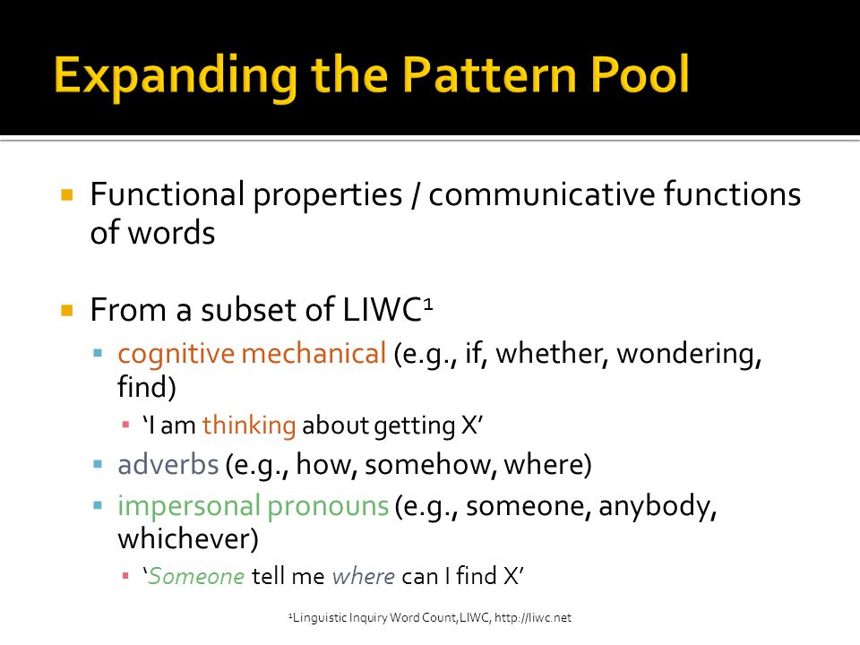  Functional properties / communicative functions of words  From a subset of LIWC 1  cognitive mechanical (e.g., if, whether, wondering, find) ▪ 'I