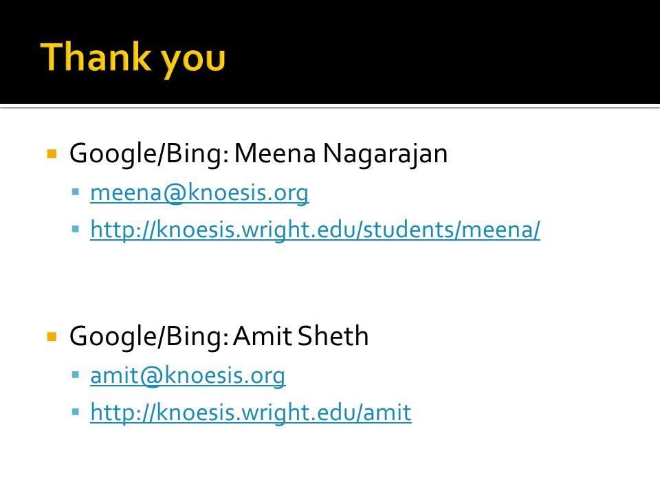  Google/Bing: Meena Nagarajan  meena@knoesis.org meena@knoesis.org  http://knoesis.wright.edu/students/meena/ http://knoesis.wright.edu/students/meena/  Google/Bing: Amit Sheth  amit@knoesis.org amit@knoesis.org  http://knoesis.wright.edu/amit http://knoesis.wright.edu/amit
