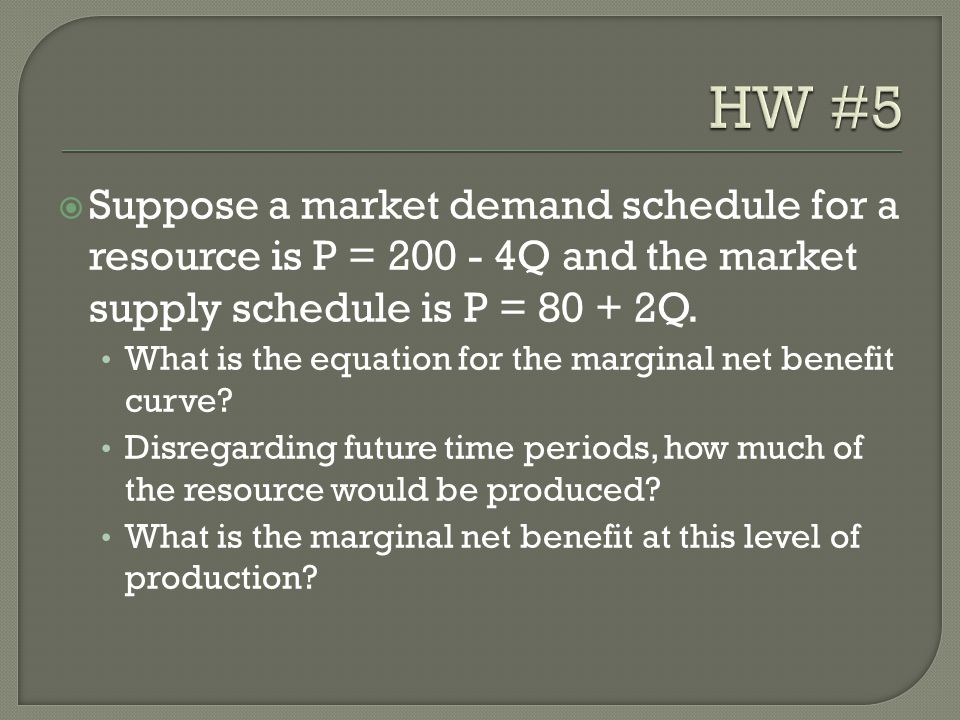  Suppose a market demand schedule for a resource is P = 200 - 4Q and the market supply schedule is P = 80 + 2Q. What is the equation for the marginal