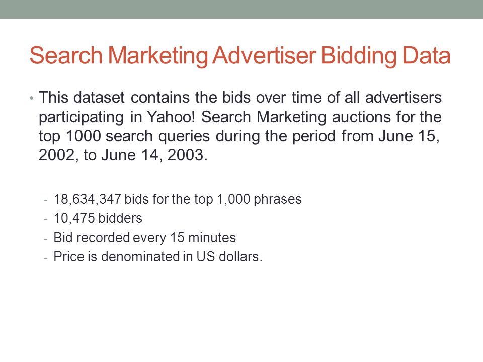 Search Marketing Advertiser Bidding Data This dataset contains the bids over time of all advertisers participating in Yahoo! Search Marketing auctions