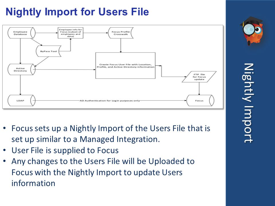 Nightly Import Nightly Import for Users File Focus sets up a Nightly Import of the Users File that is set up similar to a Managed Integration.