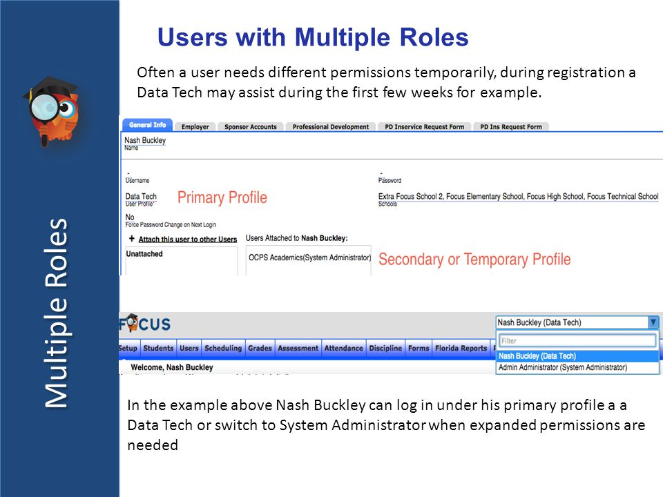 Multiple Roles Users with Multiple Roles Often a user needs different permissions temporarily, during registration a Data Tech may assist during the first few weeks for example.