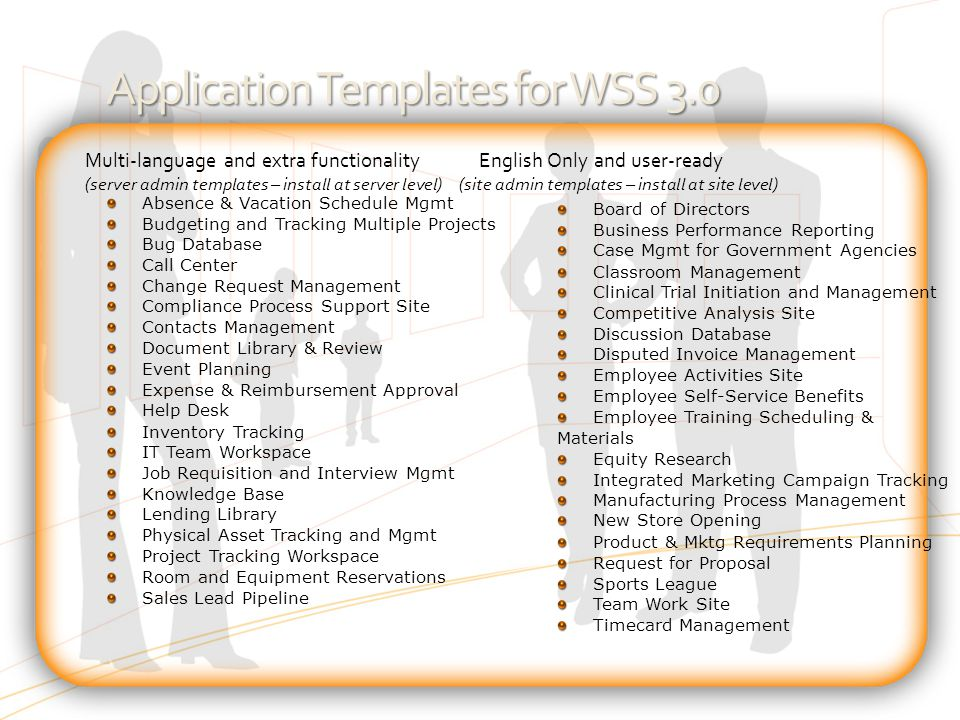 Application Templates for WSS 3.0 Absence & Vacation Schedule Mgmt Budgeting and Tracking Multiple Projects Bug Database Call Center Change Request Ma