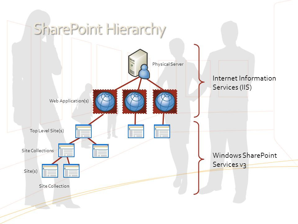Physical Server Web Application(s) Top Level Site(s) Site Collections Site(s) Site Collection SharePoint Hierarchy Internet Information Services (IIS)