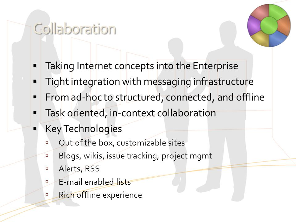 Collaboration  Taking Internet concepts into the Enterprise  Tight integration with messaging infrastructure  From ad-hoc to structured, connected,
