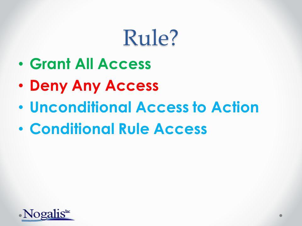 Rule? Grant All Access Deny Any Access Unconditional Access to Action Conditional Rule Access