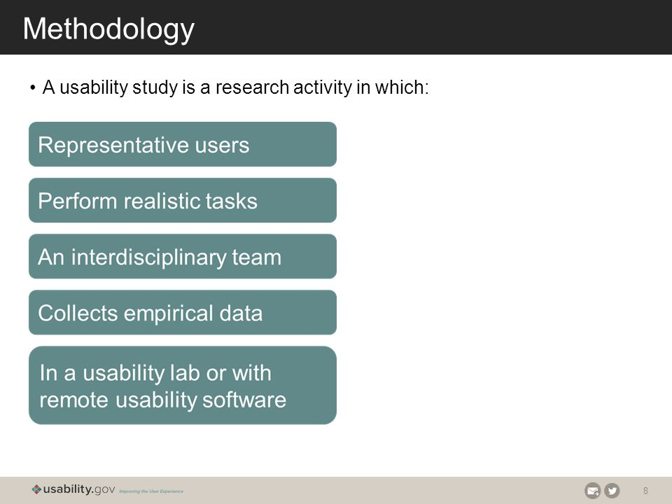 8 Methodology A usability study is a research activity in which: