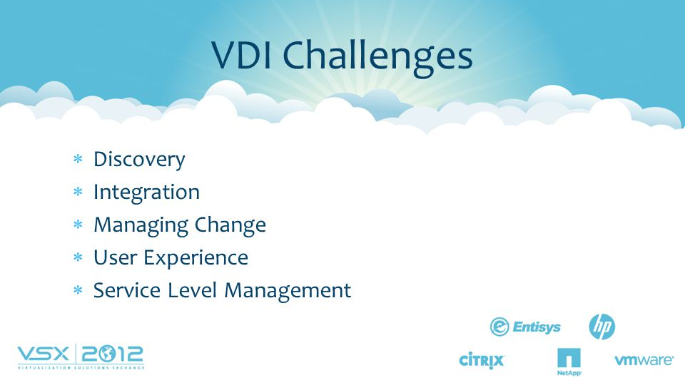  Discovery  Integration  Managing Change  User Experience  Service Level Management VDI Challenges