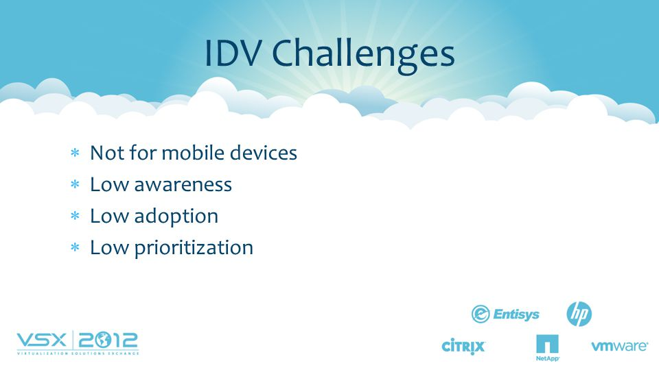  Not for mobile devices  Low awareness  Low adoption  Low prioritization IDV Challenges